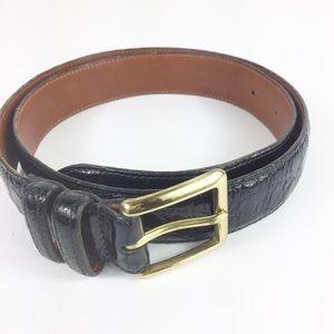 Coach Mens Leather Black Textured Belt Size 32